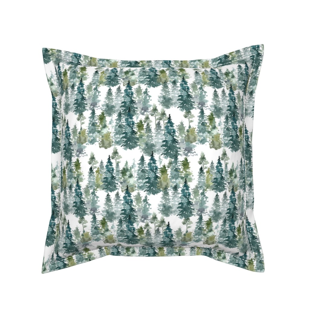 """Serama Throw Pillow featuring 8"""" Woodland Trees - White by shopcabin"""