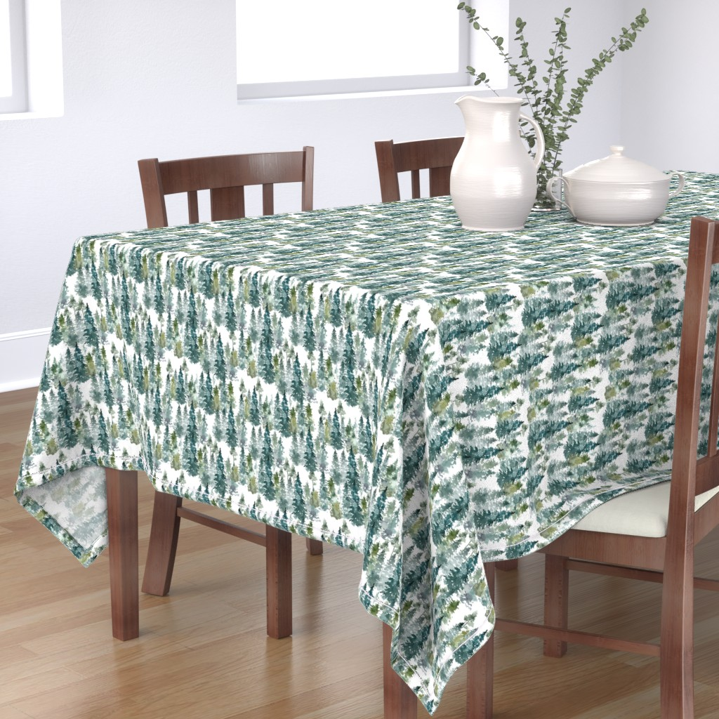 """Bantam Rectangular Tablecloth featuring 8"""" Woodland Trees - White by shopcabin"""