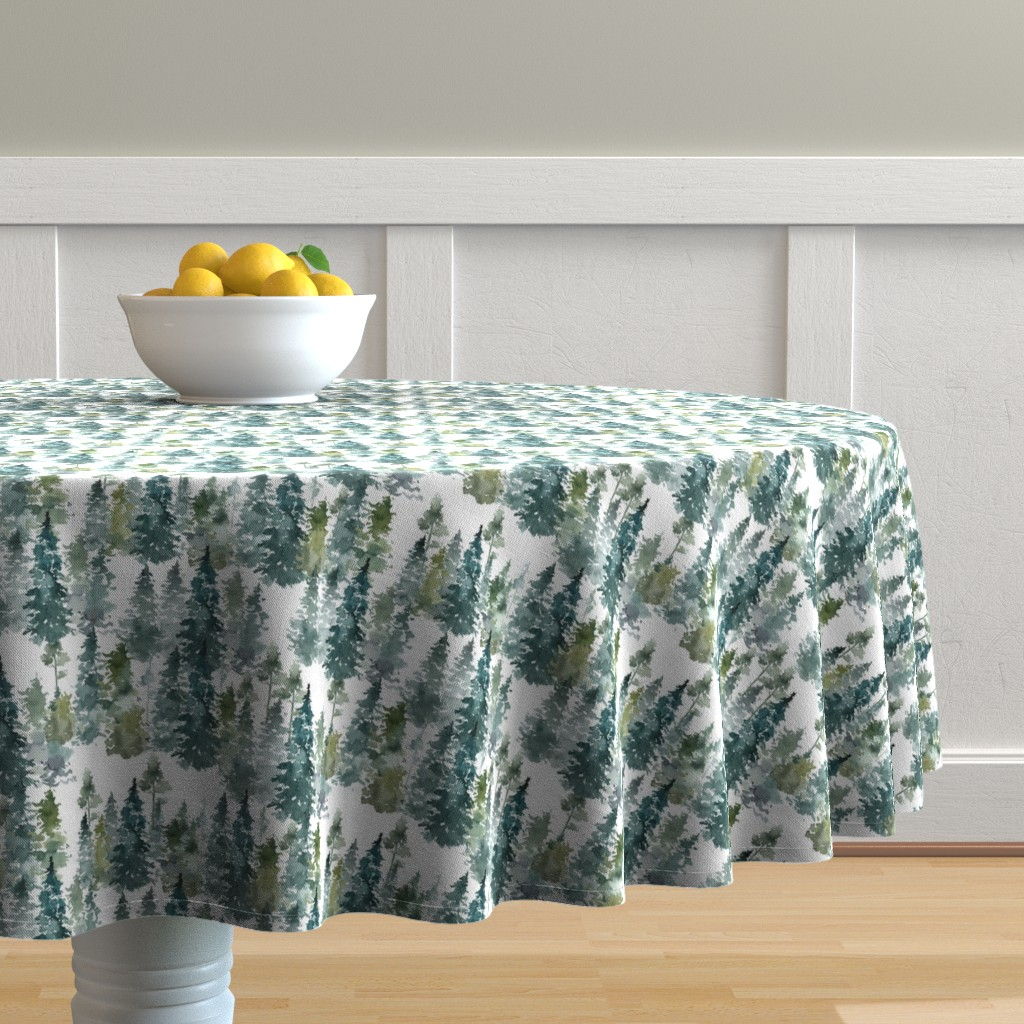 """Malay Round Tablecloth featuring 8"""" Woodland Trees - White by shopcabin"""