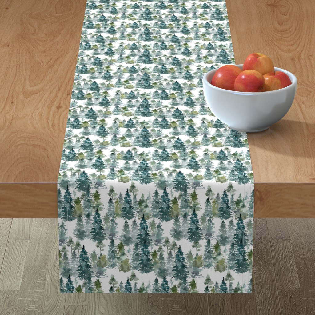 """Minorca Table Runner featuring 8"""" Woodland Trees - White by shopcabin"""