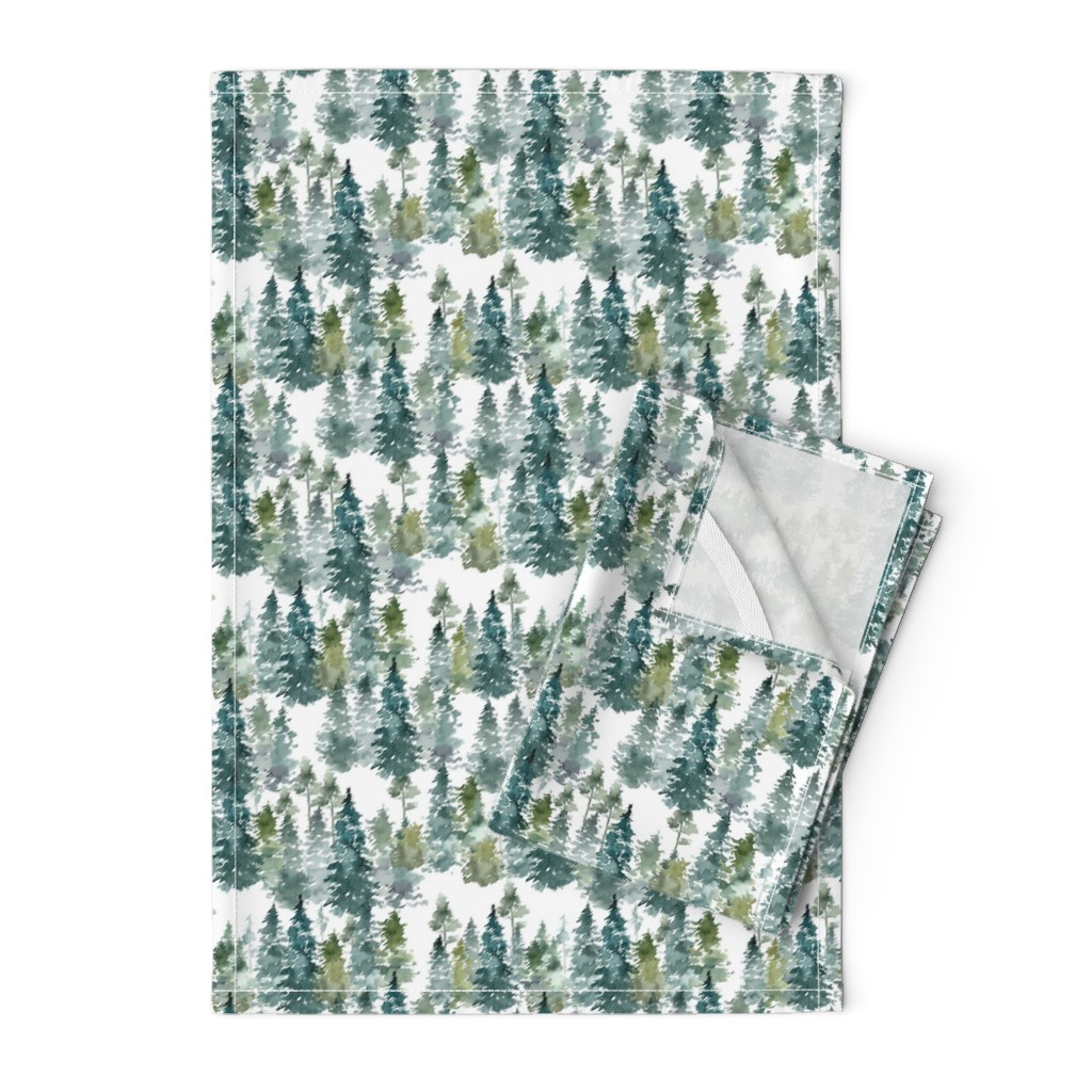"""Orpington Tea Towels featuring 8"""" Woodland Trees - White by shopcabin"""