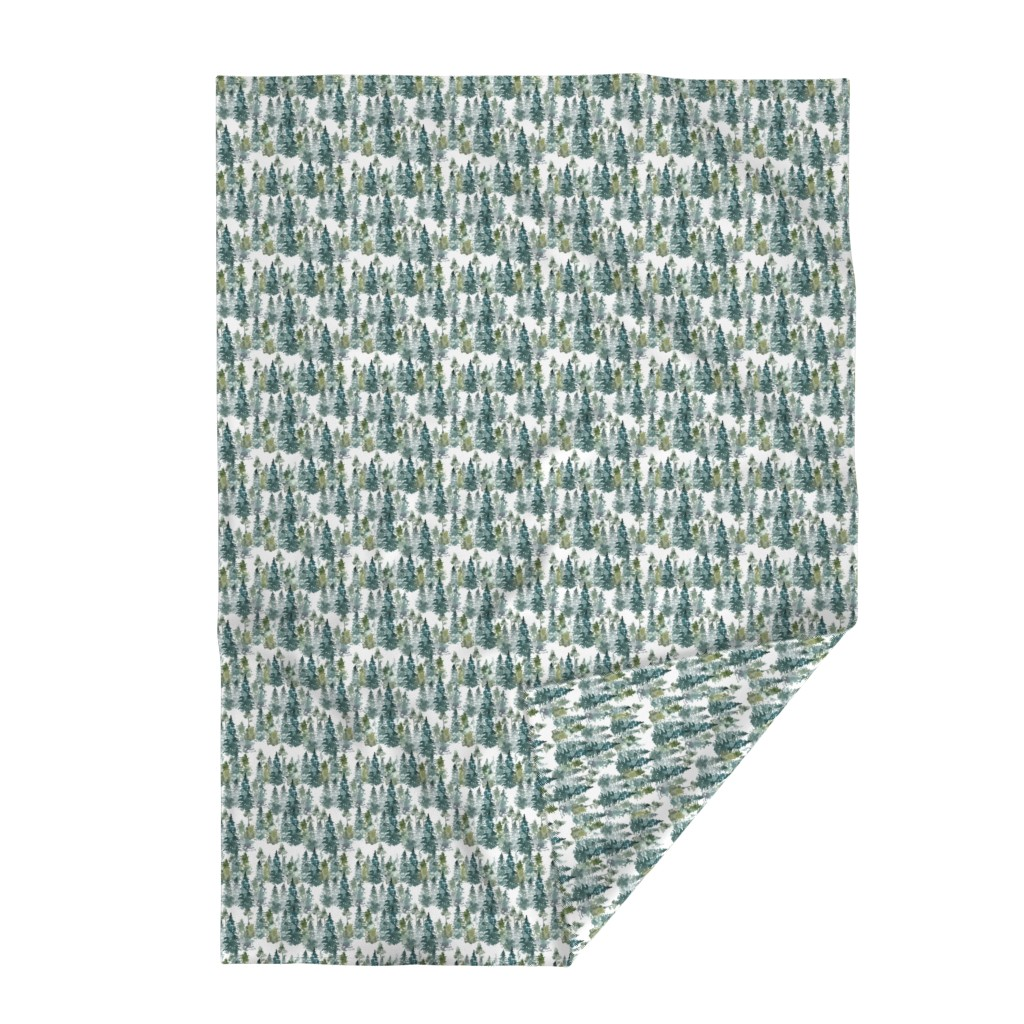 "Lakenvelder Throw Blanket featuring 8"" Woodland Trees - White by shopcabin"