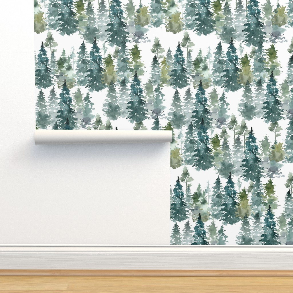 """Isobar Durable Wallpaper featuring 8"""" Woodland Trees - White by shopcabin"""