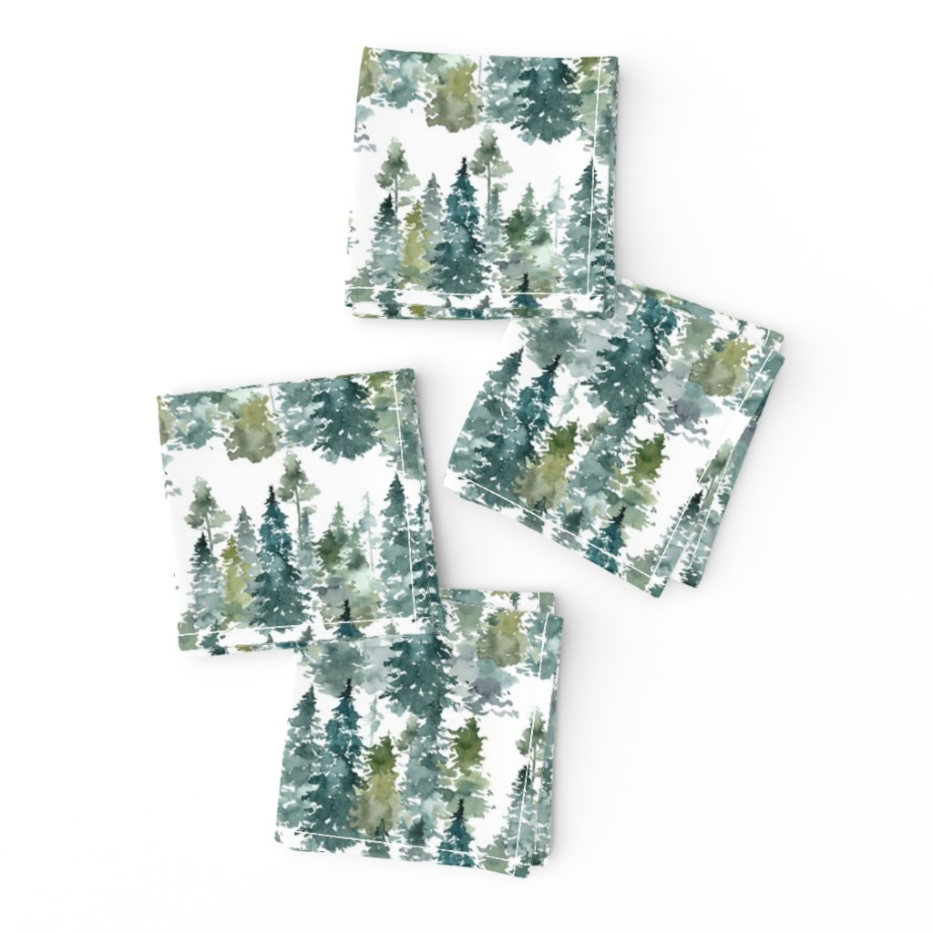 """Frizzle Cocktail Napkins featuring 8"""" Woodland Trees - White by shopcabin"""