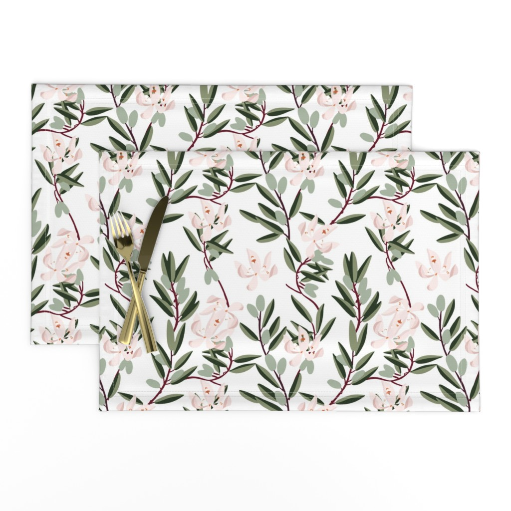 Lamona Cloth Placemats featuring OLIVE BLOOM PINK by holli_zollinger