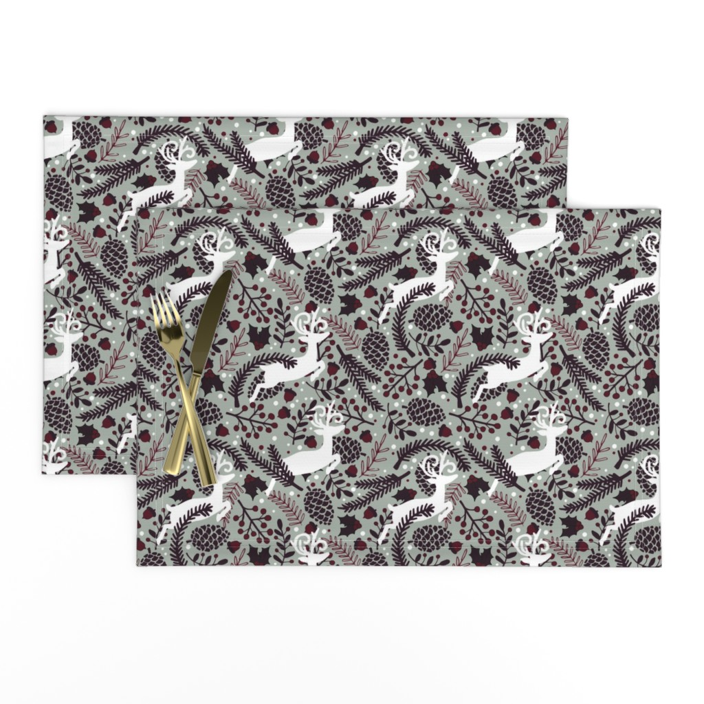 Lamona Cloth Placemats featuring Winter Forest by lalaliz