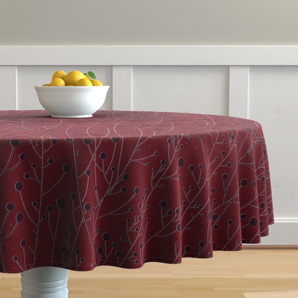 Malay Round Tablecloth featuring Diamond Dust Maroon Winterberries  by stitchyrichie