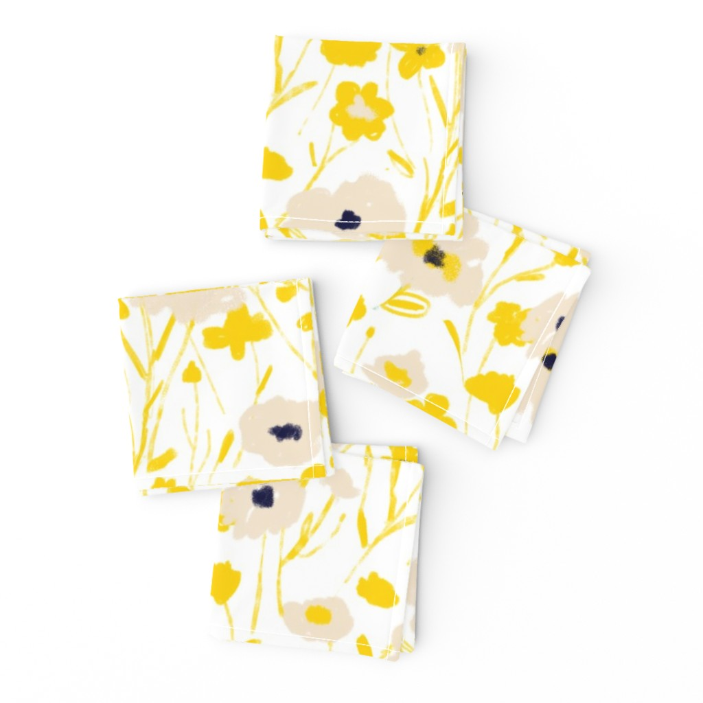 Frizzle Cocktail Napkins featuring wildflowers - yellow & blue by alison_janssen
