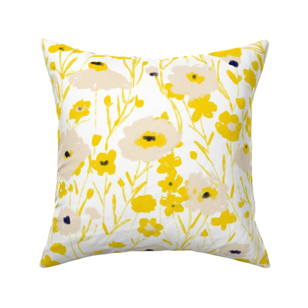 Catalan Throw Pillow featuring wildflowers - yellow & blue by alison_janssen