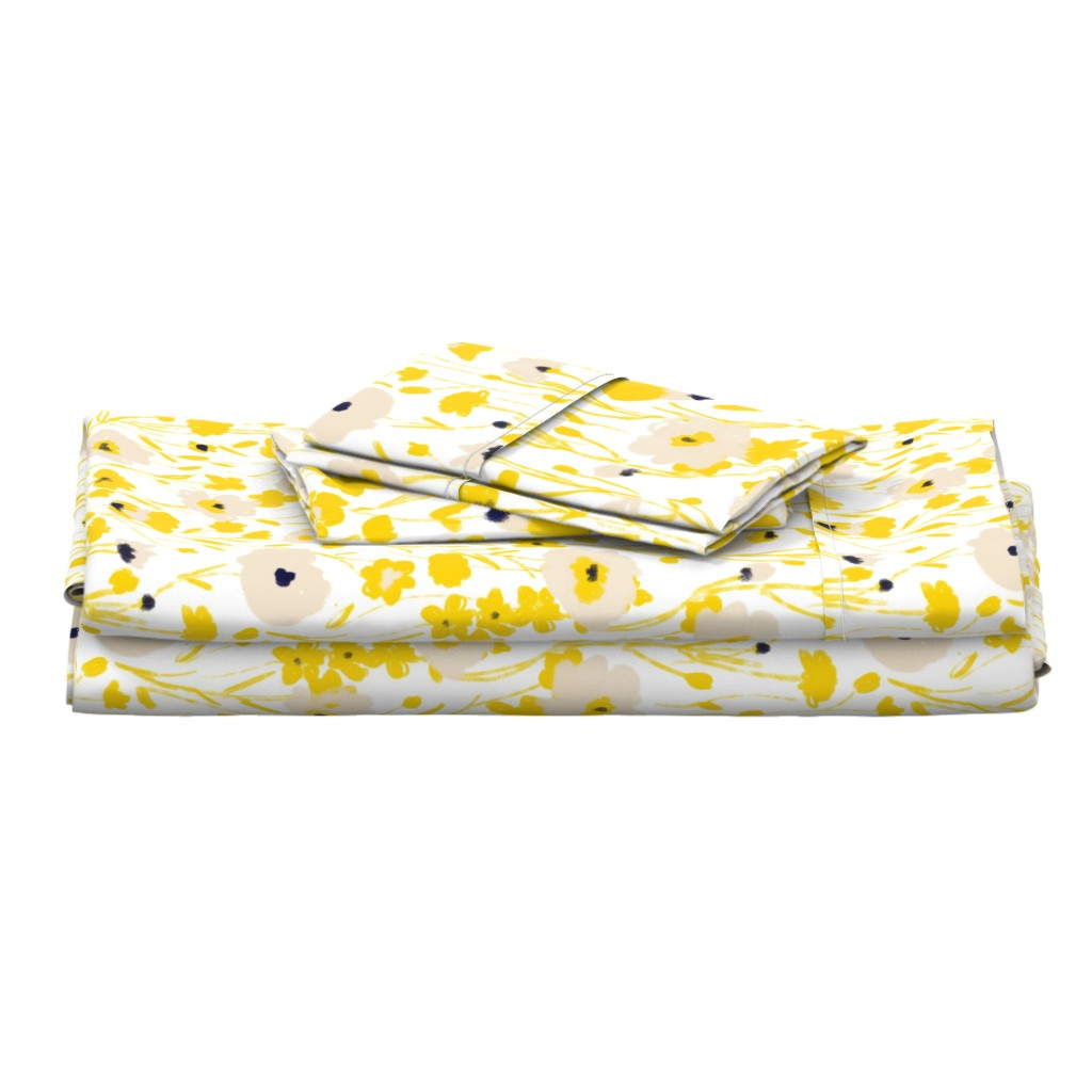Langshan Full Bed Set featuring wildflowers - yellow & blue by alison_janssen