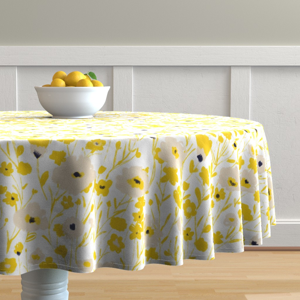 Malay Round Tablecloth featuring wildflowers - yellow & blue by alison_janssen