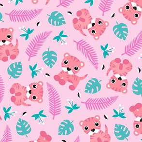 Little jungle tiger botanical leaves and summer jungle baby pink girls