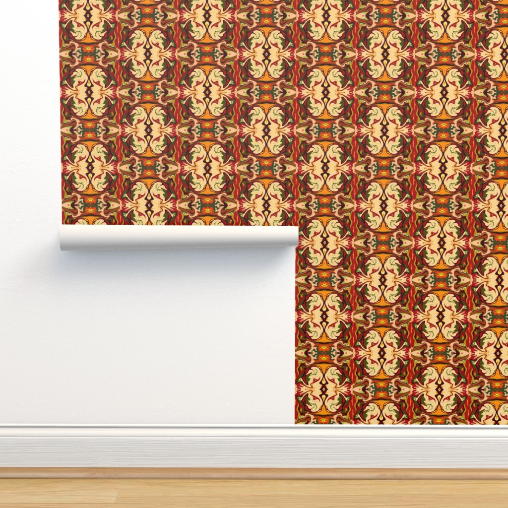 Isobar Durable Wallpaper featuring BN11 - Tiny  Kissing Cousins in cream, brown,  orange, yellow and green by maryyx