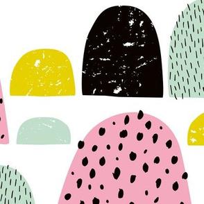 Abstract summer candy love minimal mountain goosebumps yellow pink jumbo