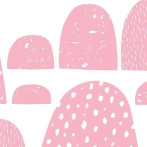 Monochrome abstract mountain wonderland sweet pastel pink Scandinavian bubbles jumbo