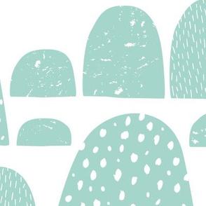 Monochrome abstract mountain wonderland sweet pastel mint Scandinavian bubbles jumbo