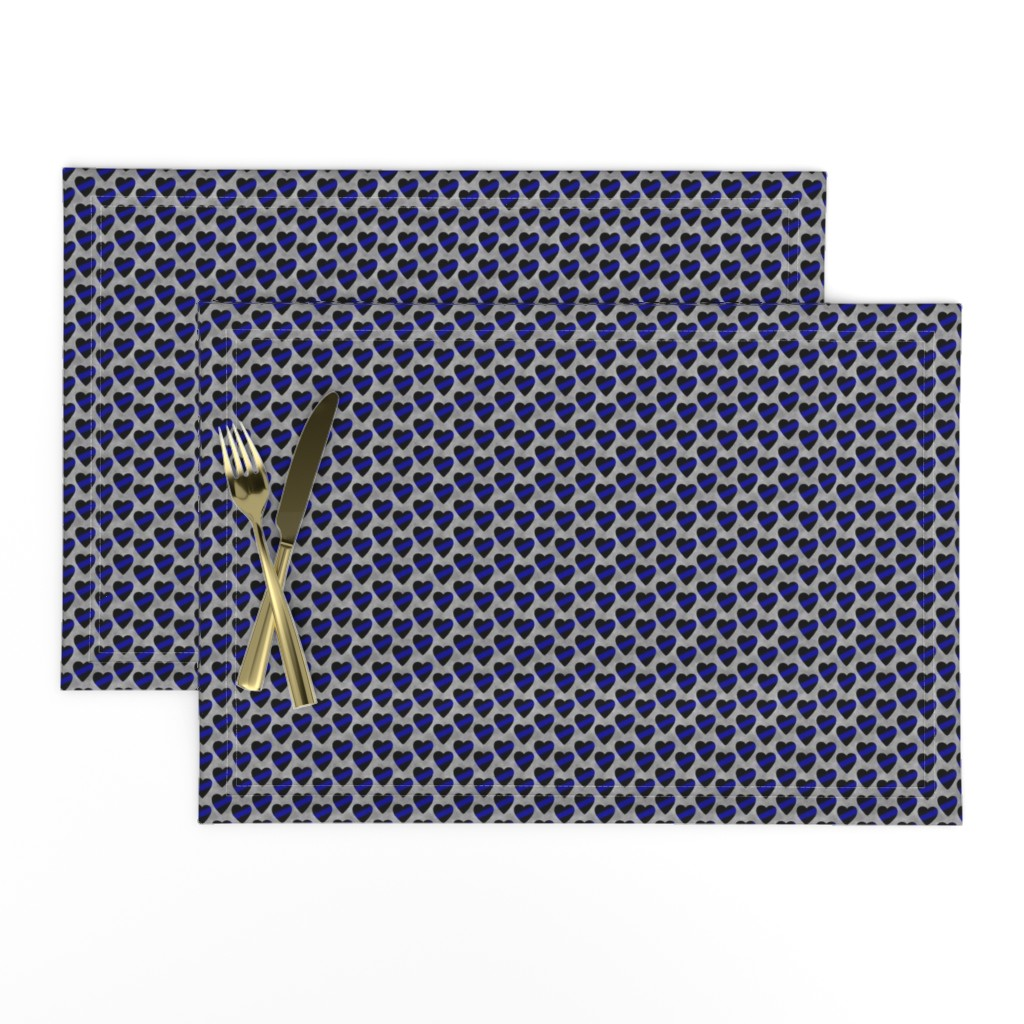 Lamona Cloth Placemats featuring Thin Blue Line Heart Sash Small Scale by themadcraftduckie
