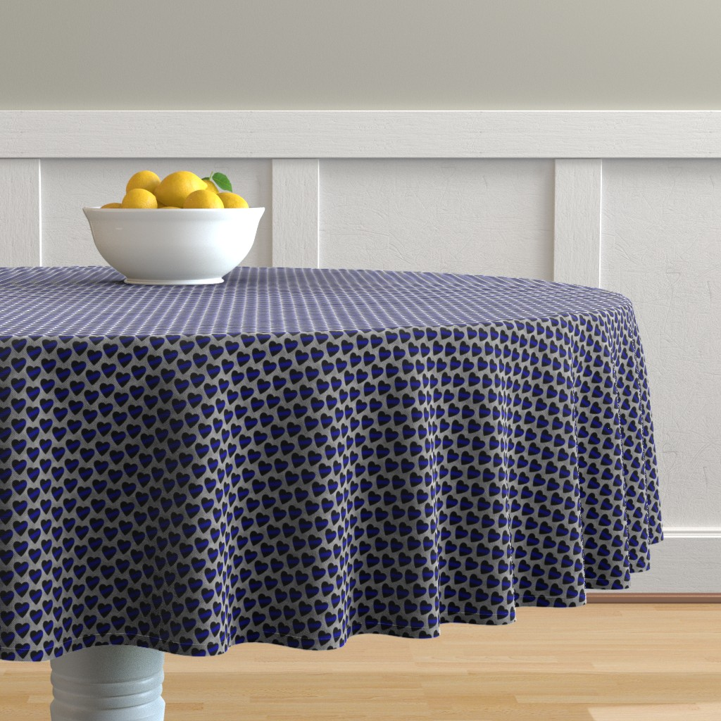 Malay Round Tablecloth featuring Thin Blue Line Heart Sash Small Scale by themadcraftduckie