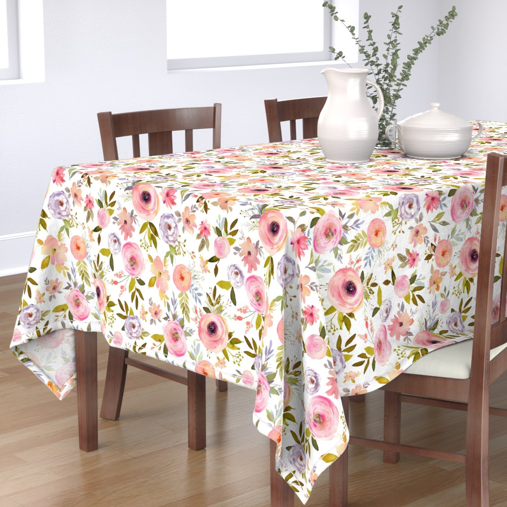 "Bantam Rectangular Tablecloth featuring 18"" Etheral Blooms - Darker Florals by shopcabin"