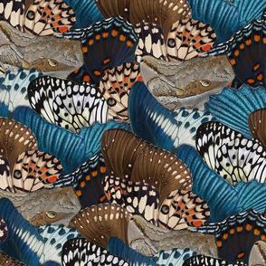 Butterfly Wings blue beige brown