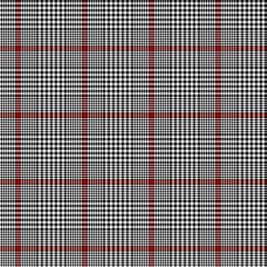 """Prince of Wales check #2, 2"""" black/white/red"""