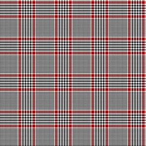 """Prince of Wales check #1, 2"""" repeat, black/white/red"""