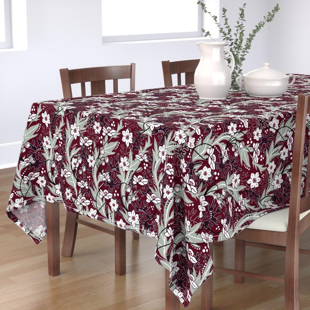 Bantam Rectangular Tablecloth featuring Winter Blooms Cranberry by vinpauld