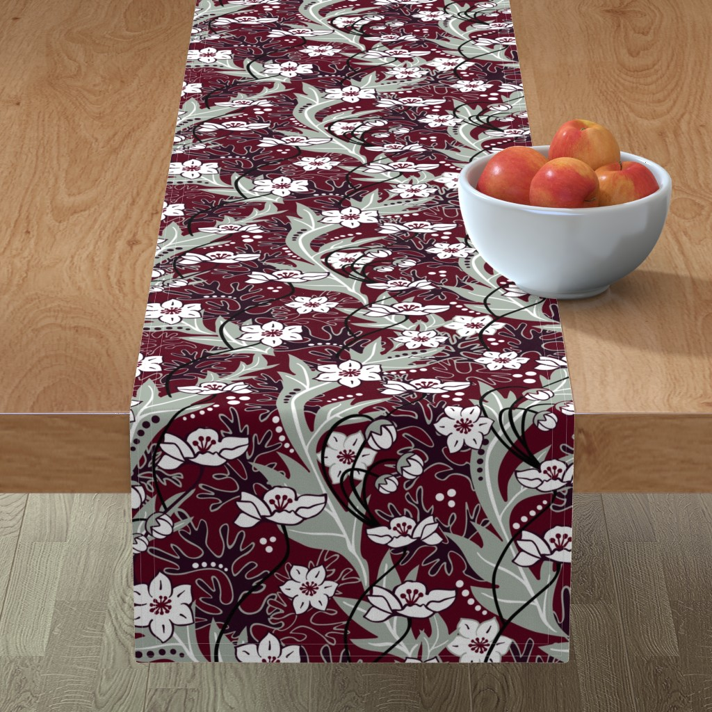 Minorca Table Runner featuring Winter Blooms Cranberry by vinpauld