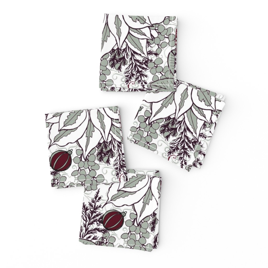 Frizzle Cocktail Napkins featuring Elegant Holiday Blossoms, Large by palifino