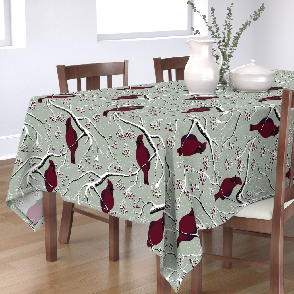 Bantam Rectangular Tablecloth featuring Winter birds by sveta_aho