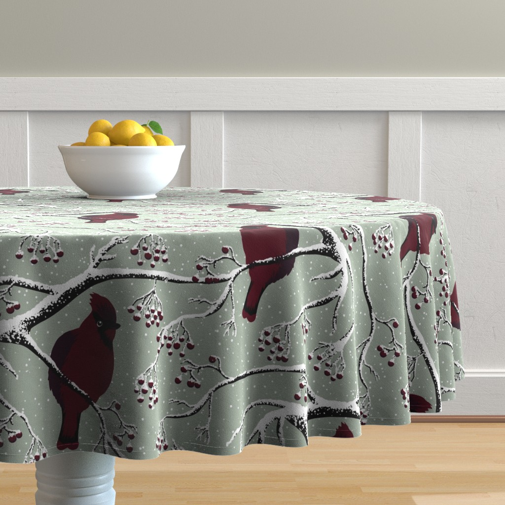 Malay Round Tablecloth featuring Winter birds by sveta_aho
