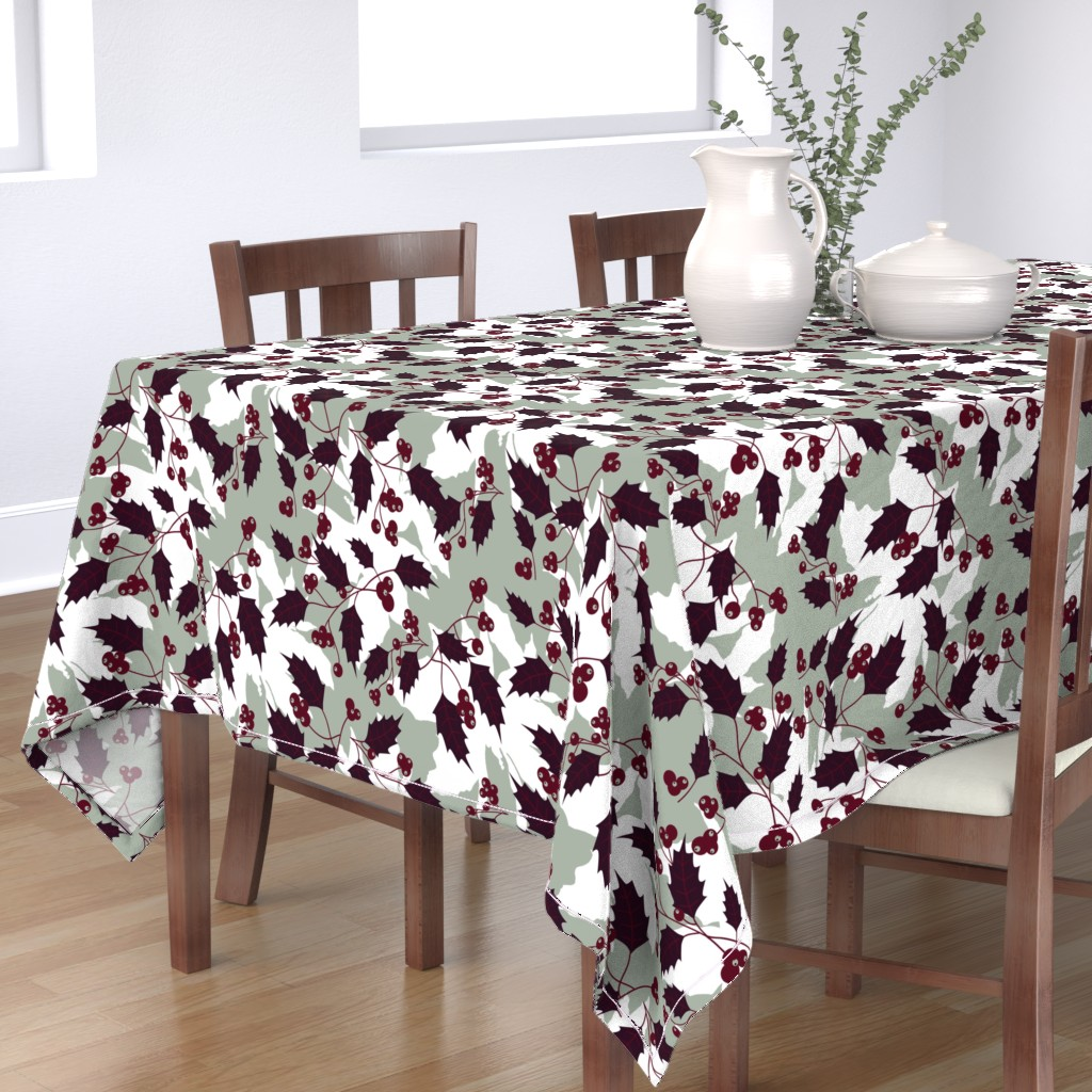 Bantam Rectangular Tablecloth featuring Jingle Holly by brainsarepretty