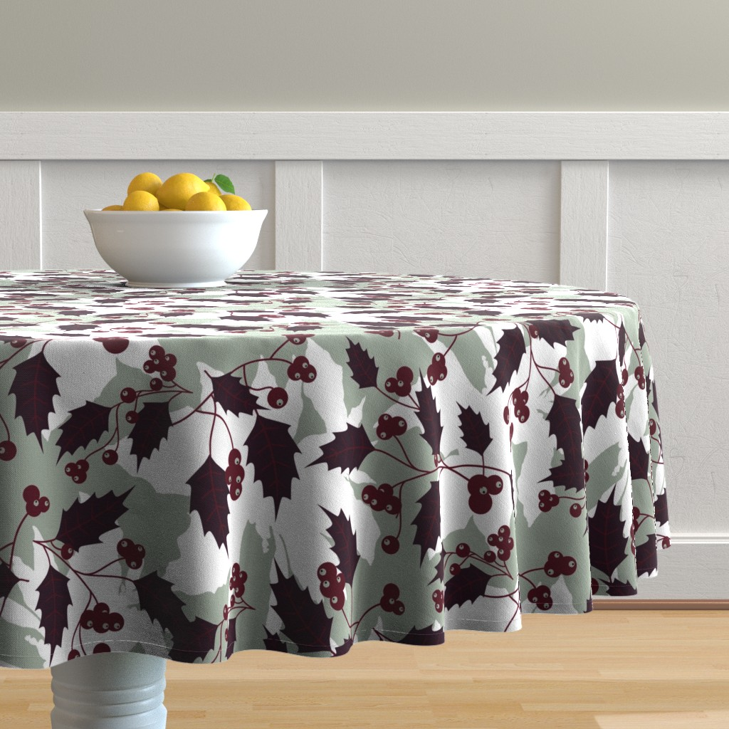Malay Round Tablecloth featuring Jingle Holly by brainsarepretty