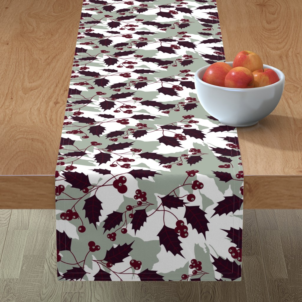 Minorca Table Runner featuring Jingle Holly by brainsarepretty