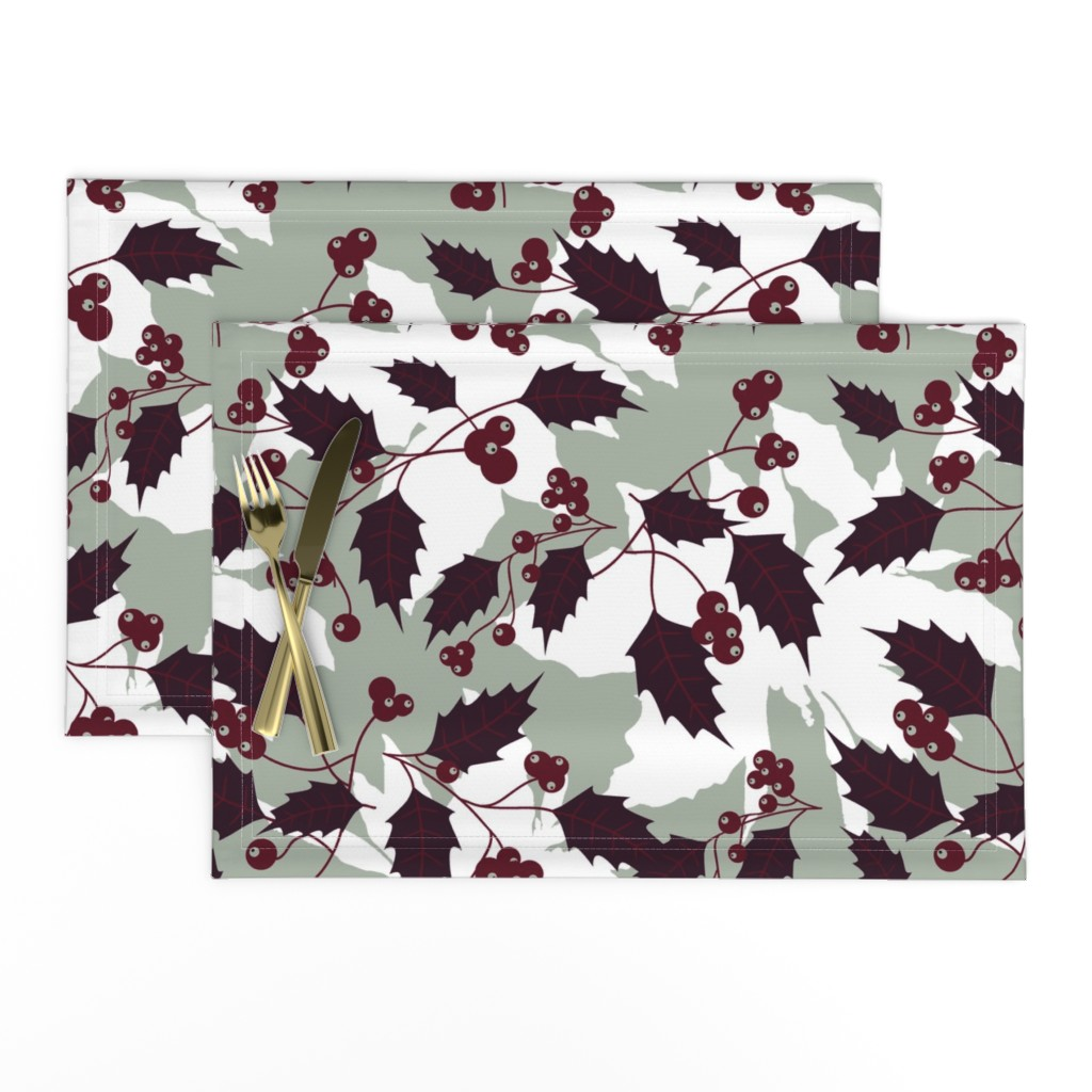 Lamona Cloth Placemats featuring Jingle Holly by brainsarepretty