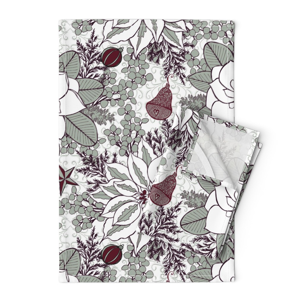 Orpington Tea Towels featuring Elegant Holiday Blossoms, XL by palifino