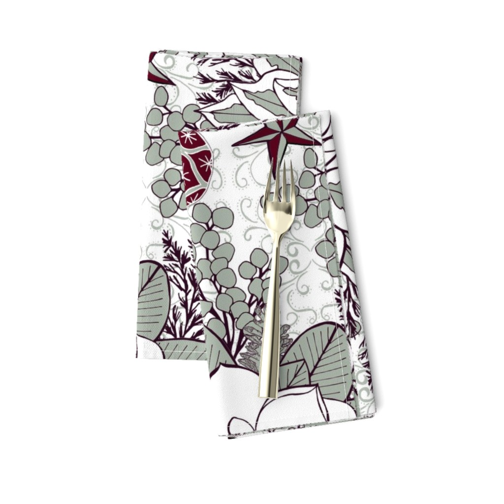 Amarela Dinner Napkins featuring Elegant Holiday Blossoms, XL by palifino