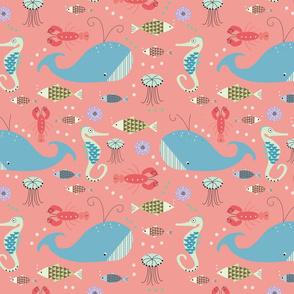 Sea life on Pink