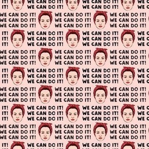 (small scale) We Can Do It! Rosie on pink