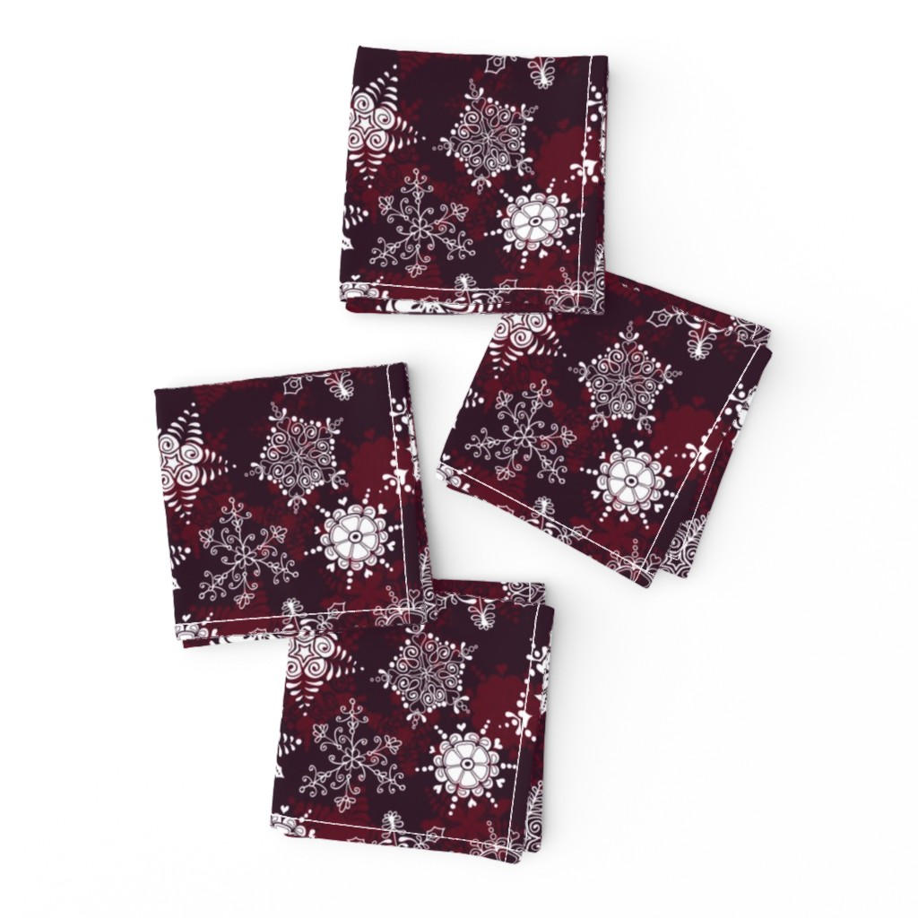 Frizzle Cocktail Napkins featuring Elegant Holiday Snowflakes by paula_ohreen_designs