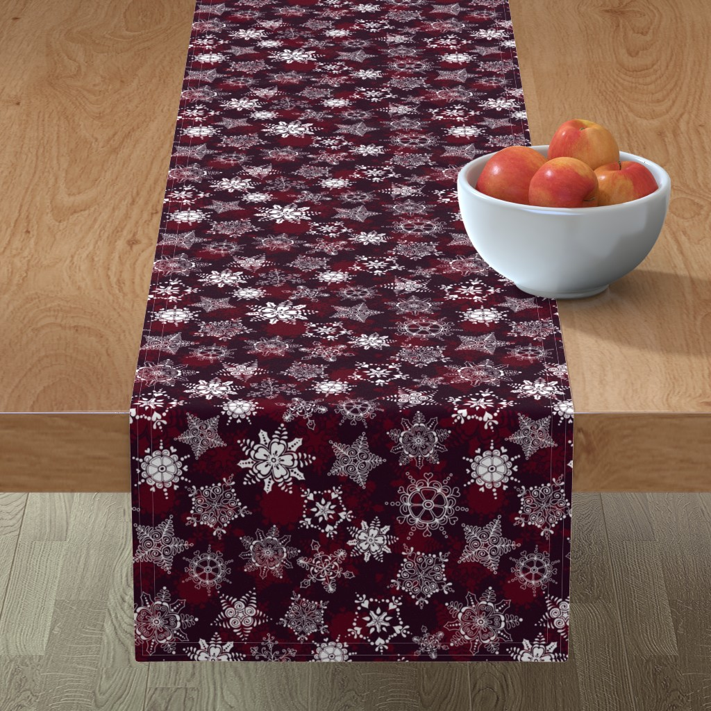 Minorca Table Runner featuring Elegant Holiday Snowflakes by paula_ohreen_designs