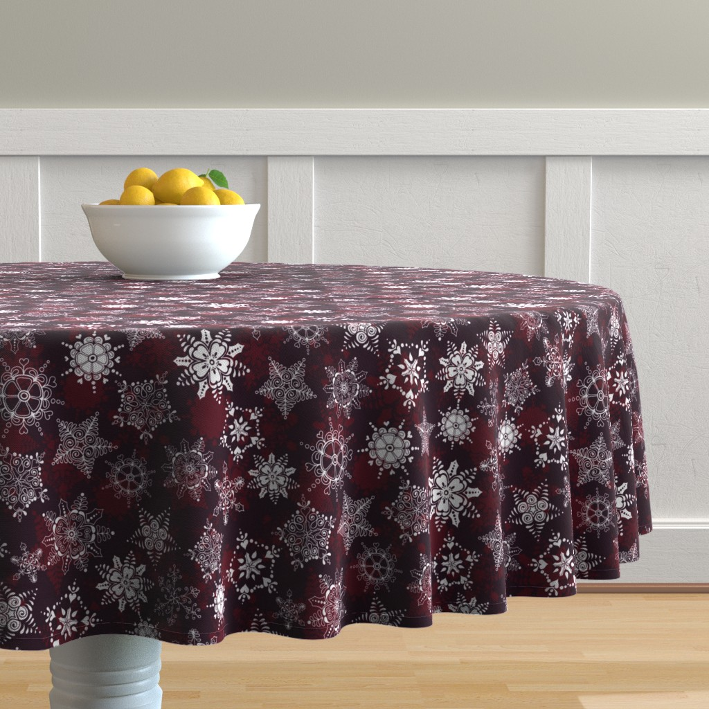 Malay Round Tablecloth featuring Elegant Holiday Snowflakes by paula_ohreen_designs