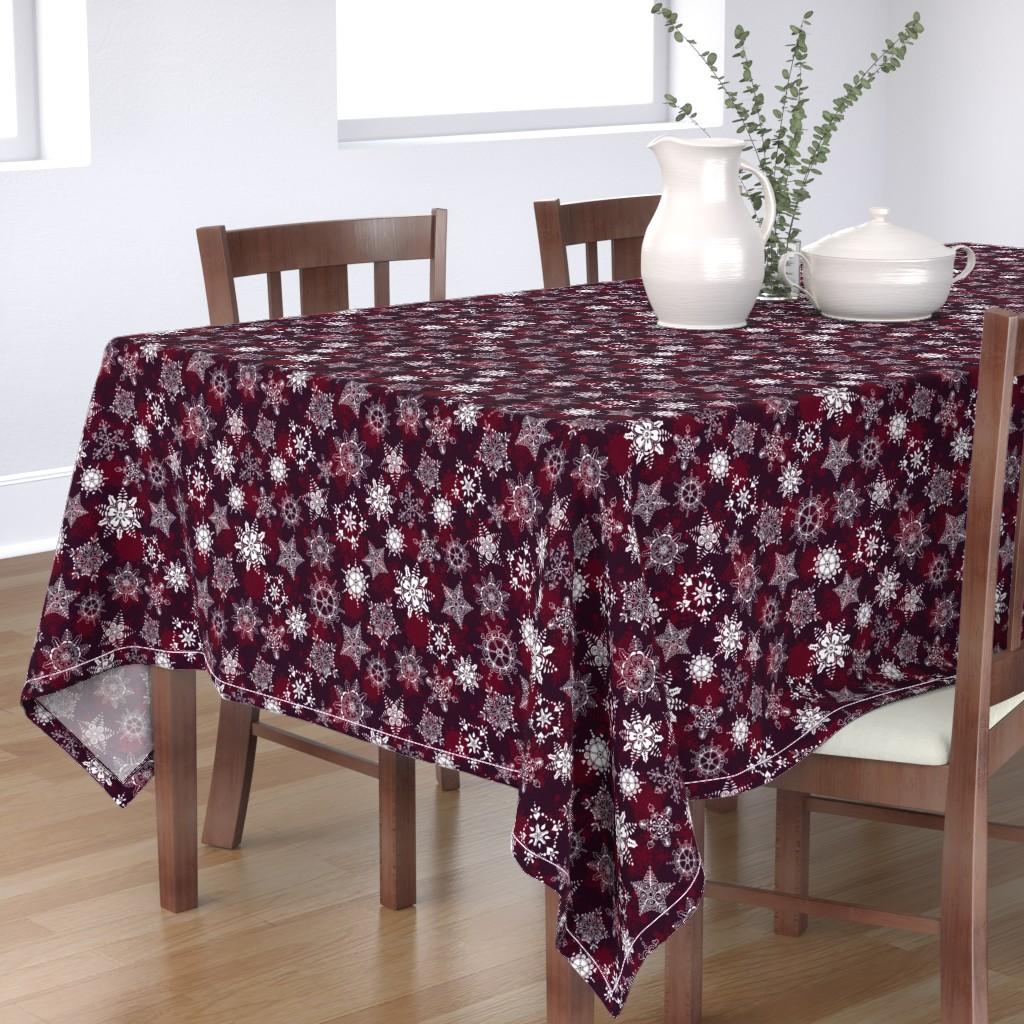Bantam Rectangular Tablecloth featuring Elegant Holiday Snowflakes by paula_ohreen_designs