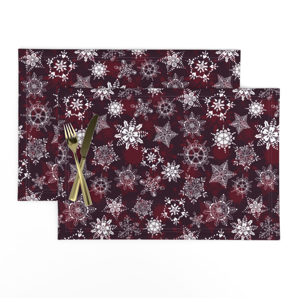 Lamona Cloth Placemats featuring Elegant Holiday Snowflakes by paula_ohreen_designs