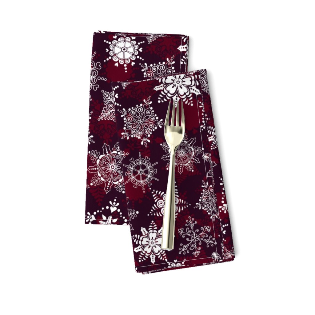 Amarela Dinner Napkins featuring Elegant Holiday Snowflakes by paula_ohreen_designs
