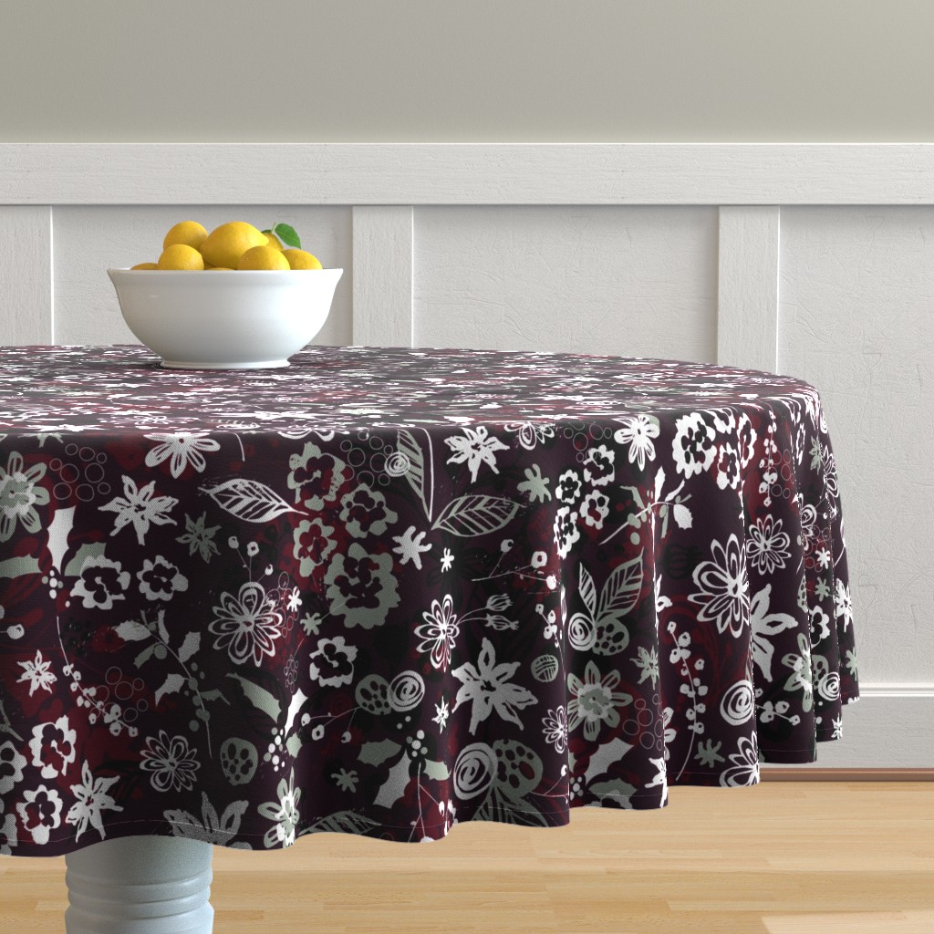 Malay Round Tablecloth featuring Holiday Floral by sarah_treu