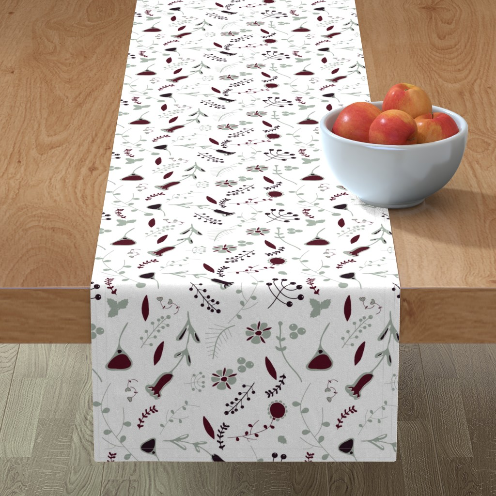 Minorca Table Runner featuring Elegant holiday white  by bruxamagica