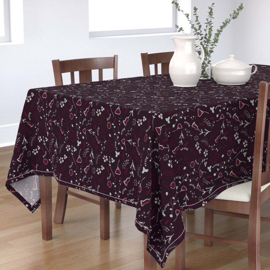 Bantam Rectangular Tablecloth featuring Elegant holiday deep purple by bruxamagica