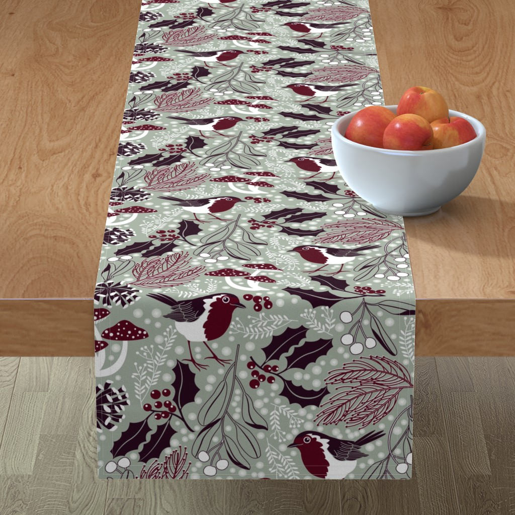 Minorca Table Runner featuring woodland holiday by cjldesigns