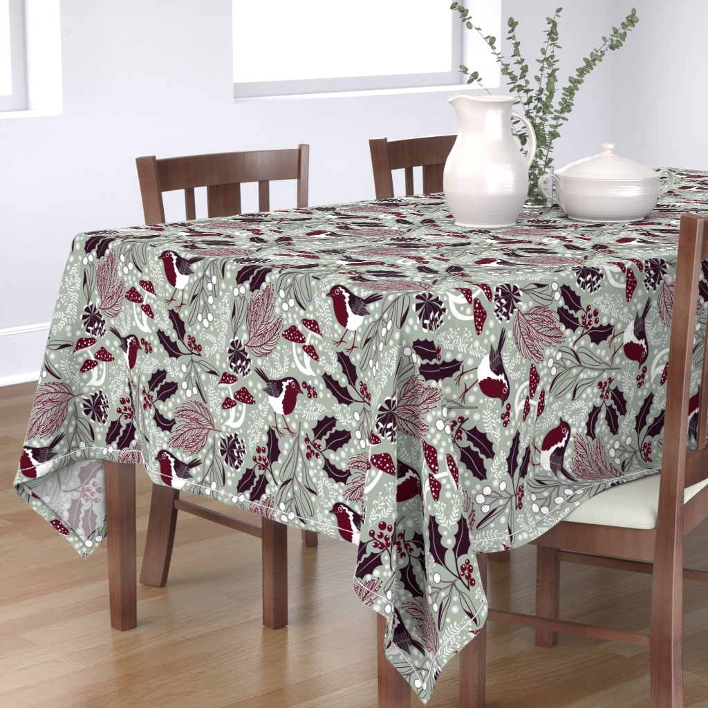Bantam Rectangular Tablecloth featuring woodland holiday by cjldesigns